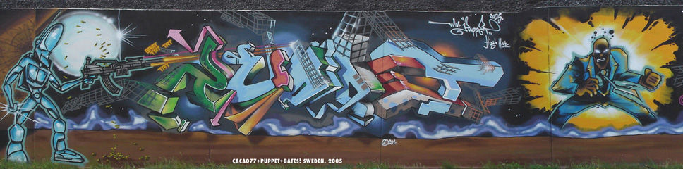 Stockholm graffiti puppet