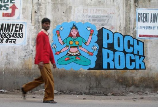 Street Art Par Poch, Rock - New Delhi (Inde)